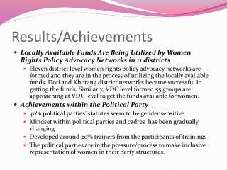Results/Achievements