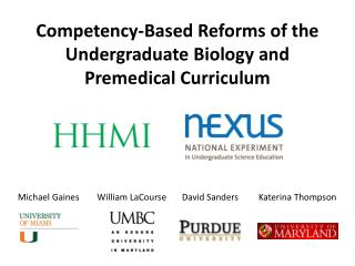 Competency-Based Reforms of the Undergraduate Biology and Premedical Curriculum