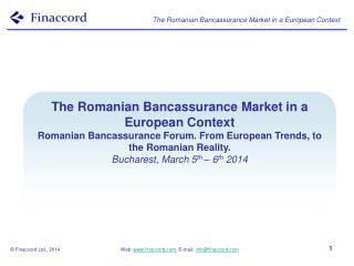 The Romanian  Bancassurance  Market in a European Context