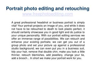 Portrait photo editing and retouching