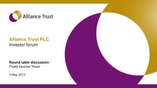 Alliance Trust PLC Investor forum