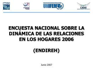 ENCUESTA NACIONAL SOBRE LA DINÁMICA DE LAS RELACIONES  EN LOS HOGARES 2006  (ENDIREH)