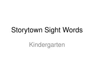 Storytown Sight Words