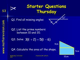 Starter Questions Thursday