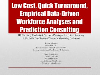 HR Specialty Products & Services Catalogue Executive Summary