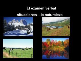 El examen verbal  situaciones – la naturaleza