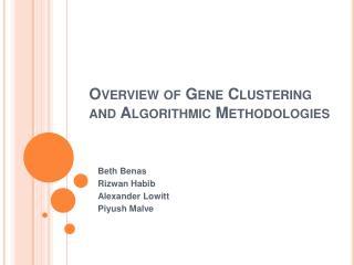 Overview of Gene Clustering and Algorithmic Methodologies