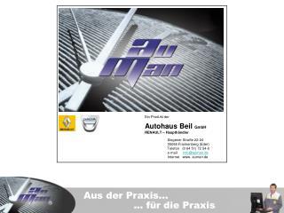 Ein Produkt der                            Autohaus Beil  GmbH RENAULT – Haupthändler