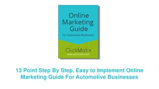 ClickMatix Online Marketing Guide for Automotive Businesses
