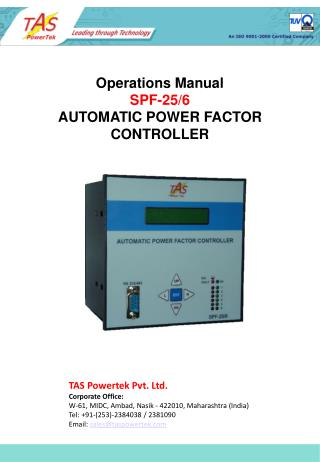 Operations Manual SPF-25/6 AUTOMATIC POWER FACTOR CONTROLLER