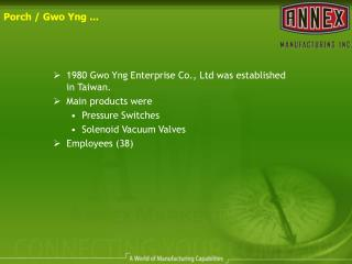 1980 Gwo Yng Enterprise Co., Ltd was established in Taiwan. Main products were  Pressure Switches