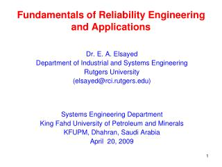 Fundamentals of Reliability Engineering and Applications