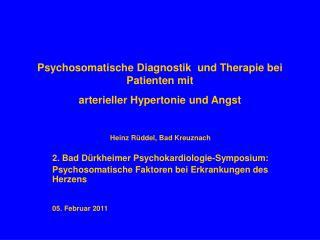 Psychosomatische Diagnostik  und Therapie bei Patienten mit  arterieller Hypertonie und Angst