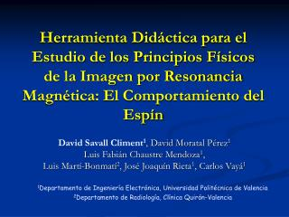 David Savall Climent 1 , David Moratal Pérez 1 Luis Fabián Chaustre Mendoza 1 ,