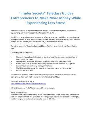 """""""Insider Secrets"""" Teleclass Guides Entrepreneurs to Make..."""
