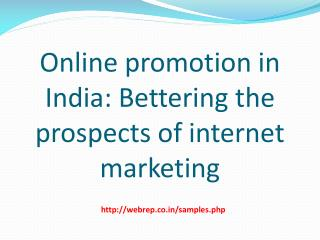Online marketing promotion in india