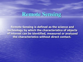 Characteristics of Remotely Sensed Imagery