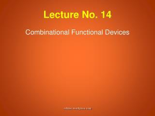Lecture No. 14