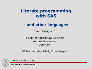 Literate programming  with SAS - and other languages