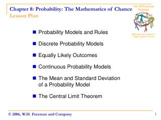 Chapter 8: Probability: The Mathematics of Chance Lesson Plan