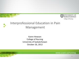 Interprofessional Education in Pain Management