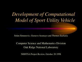 Development of Computational Model of Sport Utility Vehicle