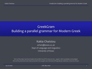 GreekGram Building a parallel grammar for Modern Greek
