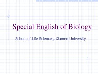 Special English of Biology