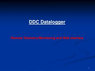 DDC Datalogger     Remote Telemetry