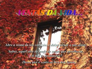 Abre a ventá do teu corazón, e deixa airear a túa alma!