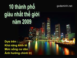 10 thành phố giàu nhất thế giới năm 2009
