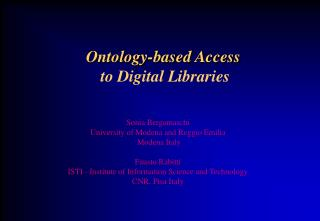 Ontology-based Access to Digital Libraries
