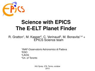 Science with EPICS The E-ELT Planet Finder