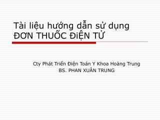 Tài liệu hướng dẫn sử dụng ĐƠN THUỐC ĐiỆN TỬ