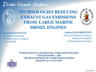 INTERNATIONAL CONGRESS OF COMBUSTION ENGINES   PTNSS KONGRES - 2007