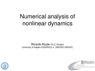Numerical analysis of nonlinear dynamics