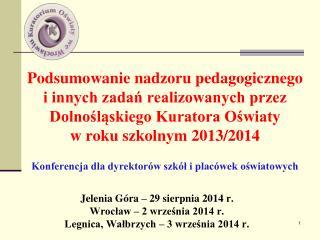Jelenia Góra – 29 sierpnia 2014 r. Wrocław – 2 września 2014 r.