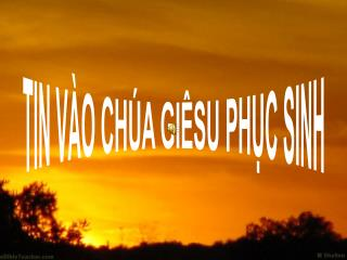 TIN VÀO CHÚA GIÊSU PHỤC SINH