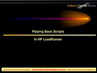 Playing Back Scripts  In HP LoadRunner