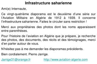Infrastructure saharienne Ami(e) Internaute,