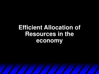 Efficient Allocation of Resources in the economy