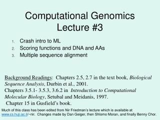 Computational Genomics Lecture #3