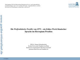 Die  Wolfenbütteler Postille  von 1573 – ein frühes Werk litauischer Sprache im Herzogtum Preußen