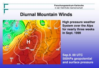 High pressure weather System over the Alps  for nearly three weeks in Sept. 1999