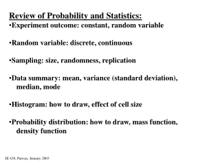 Review of Probability and Statistics in Simulation 2