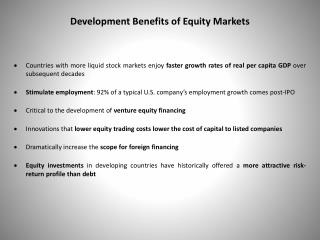 Development Benefits of Equity Markets
