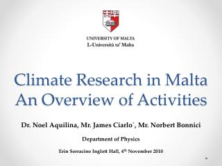 Climate  Research in Malta An  Overview of Activities