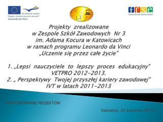 PODSUMOWANIE PROJEKTÓW  Katowice, 2 6  kwietnia 2013 r.