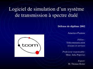 Logiciel de simulation d�un syst�me de transmission � spectre �tal�