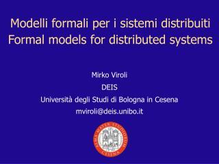 Modelli formali per i sistemi distribuiti